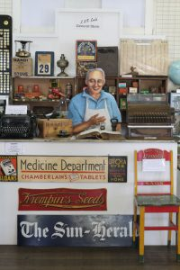 Frank in his general store at Cundletown Museum