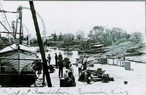 Government Wharf Cundletown late 1800's - showing section of the river bank, including slipway and other buildings