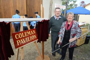 Mr Bob Coleman (Benifactor & Patron) & President Mrs Margaret Love at the unveiling of the Coleman Pavilion. Photo courtesy Manning River Times Taree